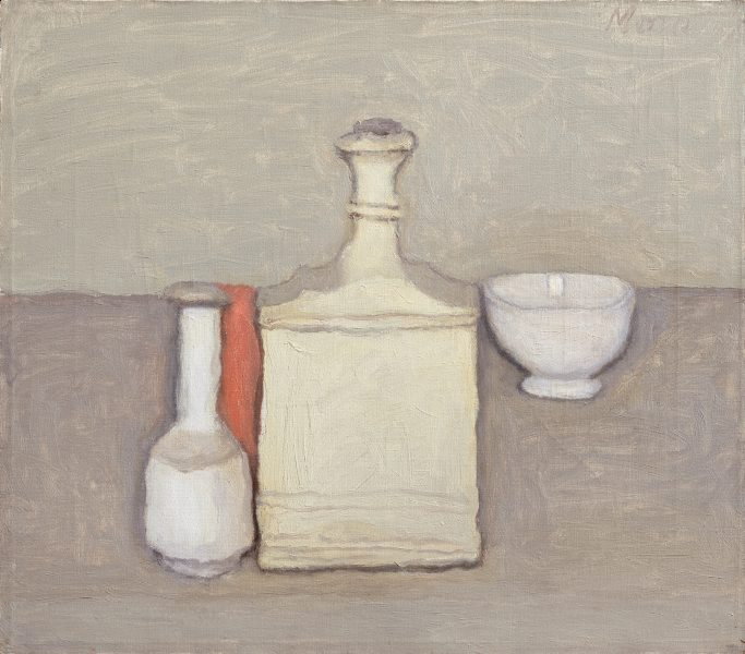 Natura Morta  , Giorgio Morandi , Oil, 35.4 x 40.9 cm stretcher; 61.5 x 67.0 x 5.0 cm frame  A reticent and quiet man who eschewed the successive fashions of European modernism, Morandi devoted his artistic career to the unhurried contemplation of the objects and landscapes of his native Bologna. The objects he painted and drew were invariably prosaic. Morandi gathered them together into intimate clusters. An unerring judge of proportion, he imbued these compositions with an extraordinary sense of unity, realising the lyric possibilities of his objects through subtle intervals of colour, tone and space. The familiar forms of jars and pots are simplified, yet their essential qualities seem to be heightened. In this way Morandi suggests an abstract monumentality: a characteristic associated with metaphysical painting. The classic composure of Morandi's work depends on a technique that leaves nothing to chance or improvisation.  Art Gallery Handbook, 1999.
