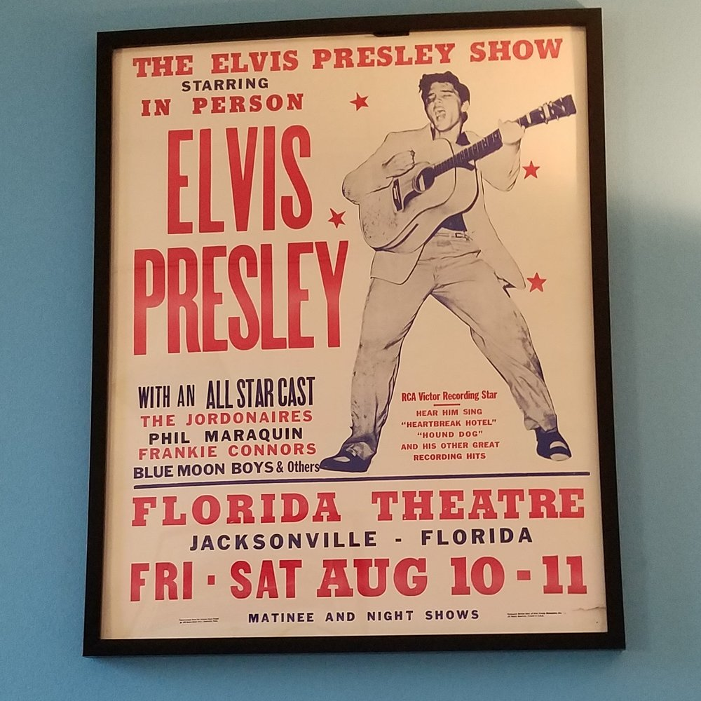 The Show Poster from when Elvis Presley performed at the Florida Theatre in 1956.