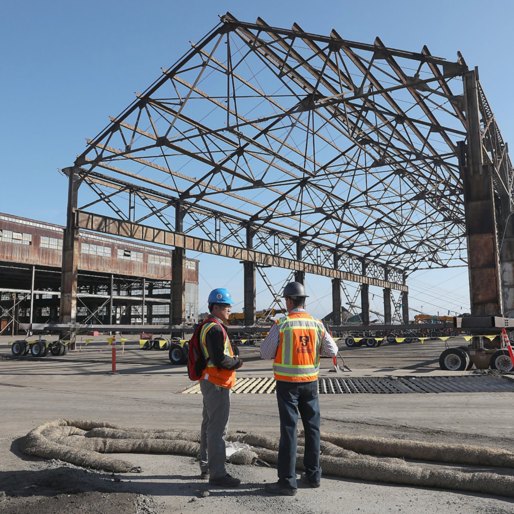 Building 15 at Pier 70 gets temporarily moved to begin transforming 22nd street. The structure will be returned to mark the gateway at Pier 70.