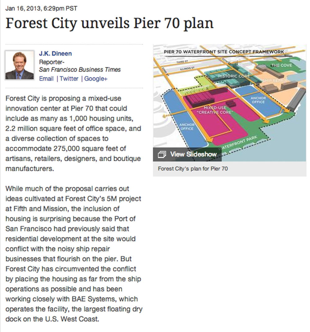Forest city unveils pIER 70 PLAN - January 16, 2013