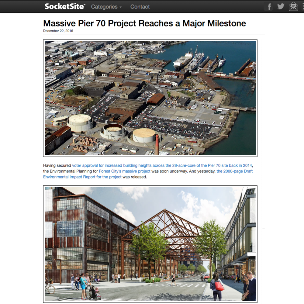 Massive Pier 70 Project reaches a major milestone - December 22, 2016Having secured voter approval for increased building heights across the 28-acre-core of the Pier 70 site back in 2014, the Environmental Planning for Forest City's massive project was soon underway. And yesterday, the 2000-page Draft Environmental Impact Report for the project was released.