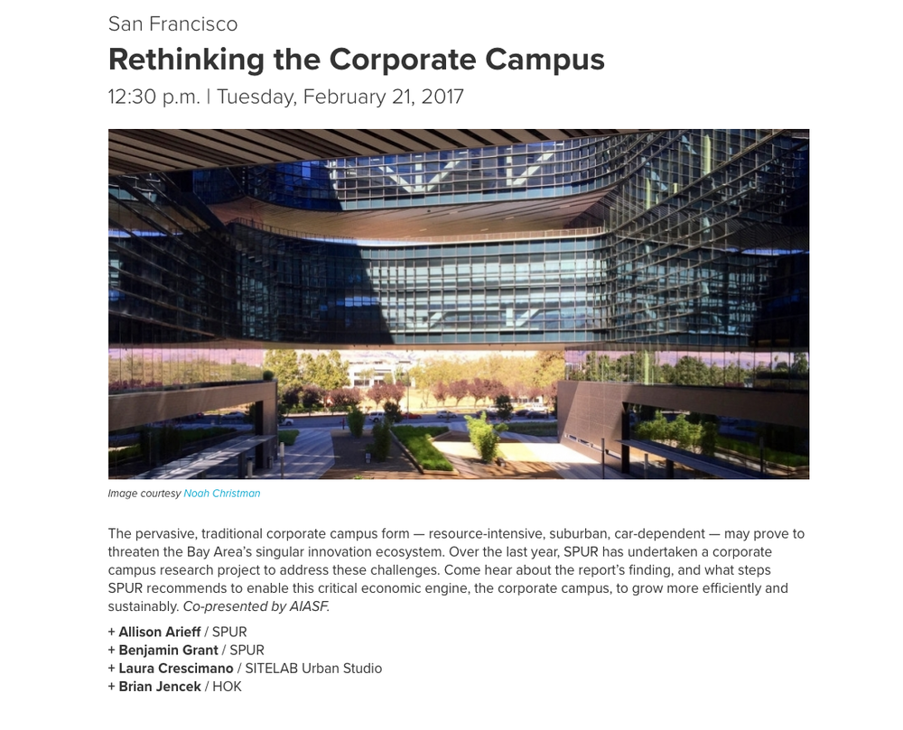 Laura Crescimano to speak at SPUR on rethinking the corporate campus - February 21, 2017