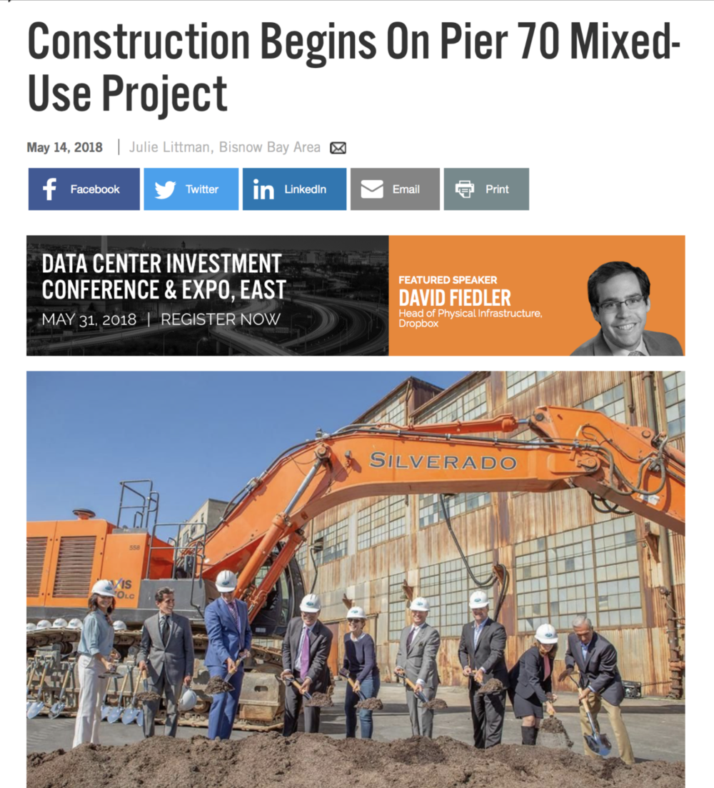 BISNOW writes on Pier 70 ground breaking - May 14, 2018