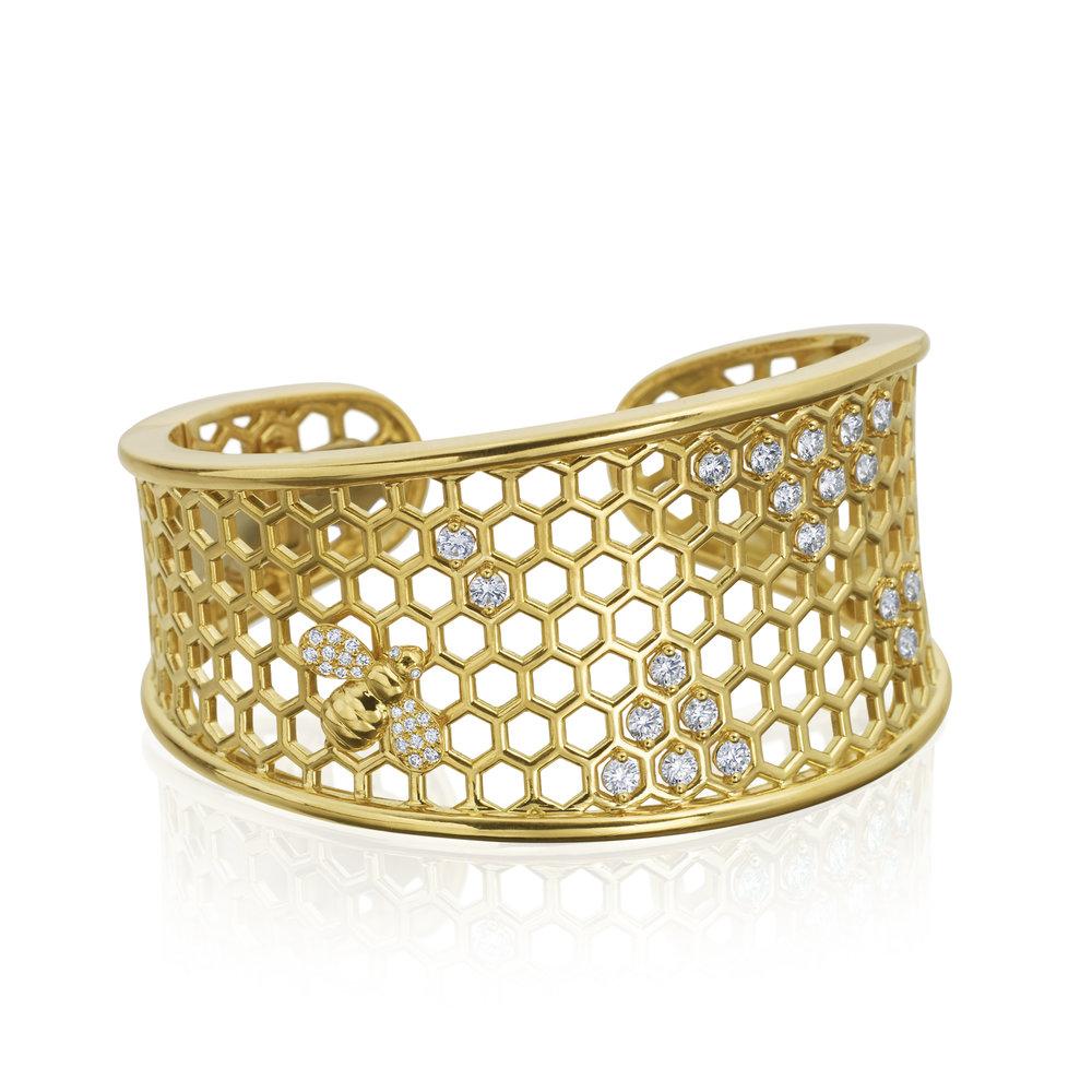 "Gold ""B"" Honeycomb Cuff Bracelet"