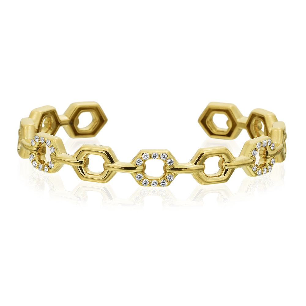 Gold & Diamond B Honeycomb Bracelet