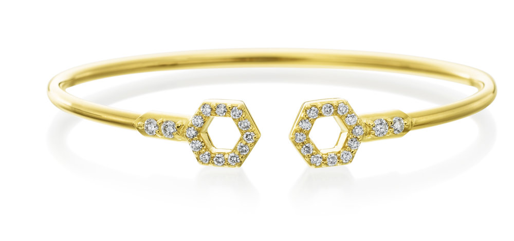Gold & Diamond Flexible B Bracelet