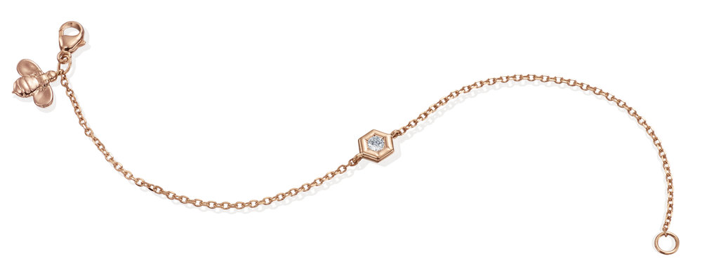 Single Diamond Mini B Bracelet with Bee Tag