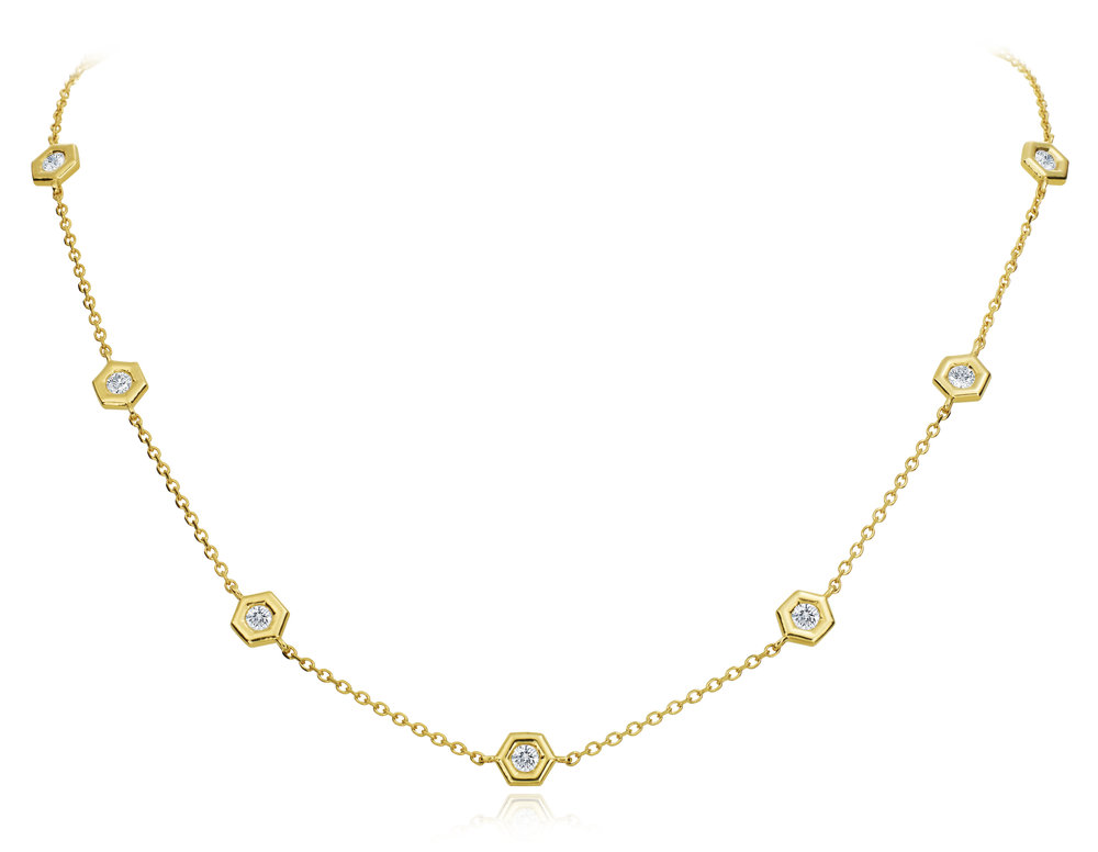 Gold Mini B Diamond Necklace