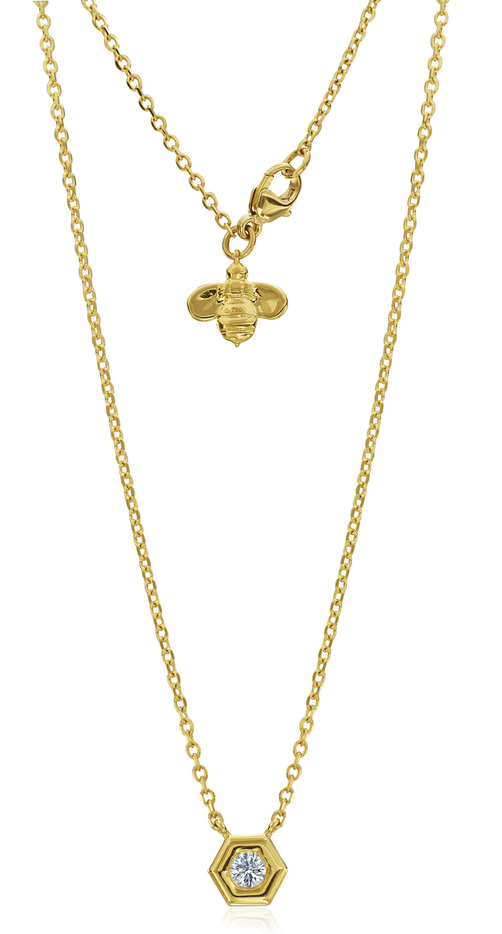 Gold & Single Diamond Mini B Necklace