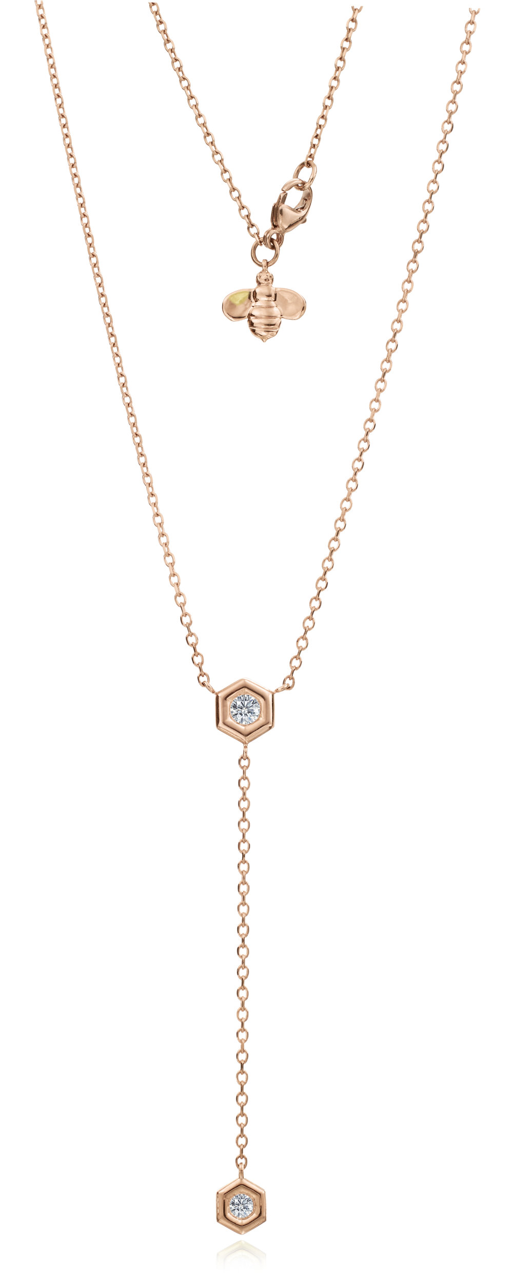 Gold & Diamond Mini B Necklace with Bee Tag