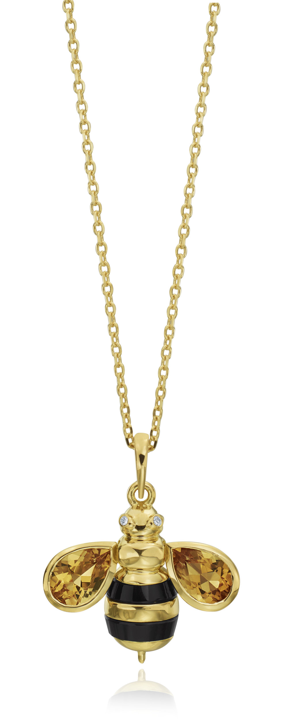 "Gold & Diamond ""B""  Honey Bee Pendant"