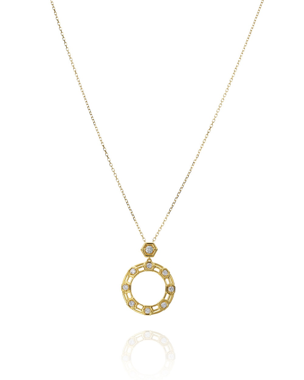 "Yellow Gold & Diamond ""B"" Pendant with Bee Tag"