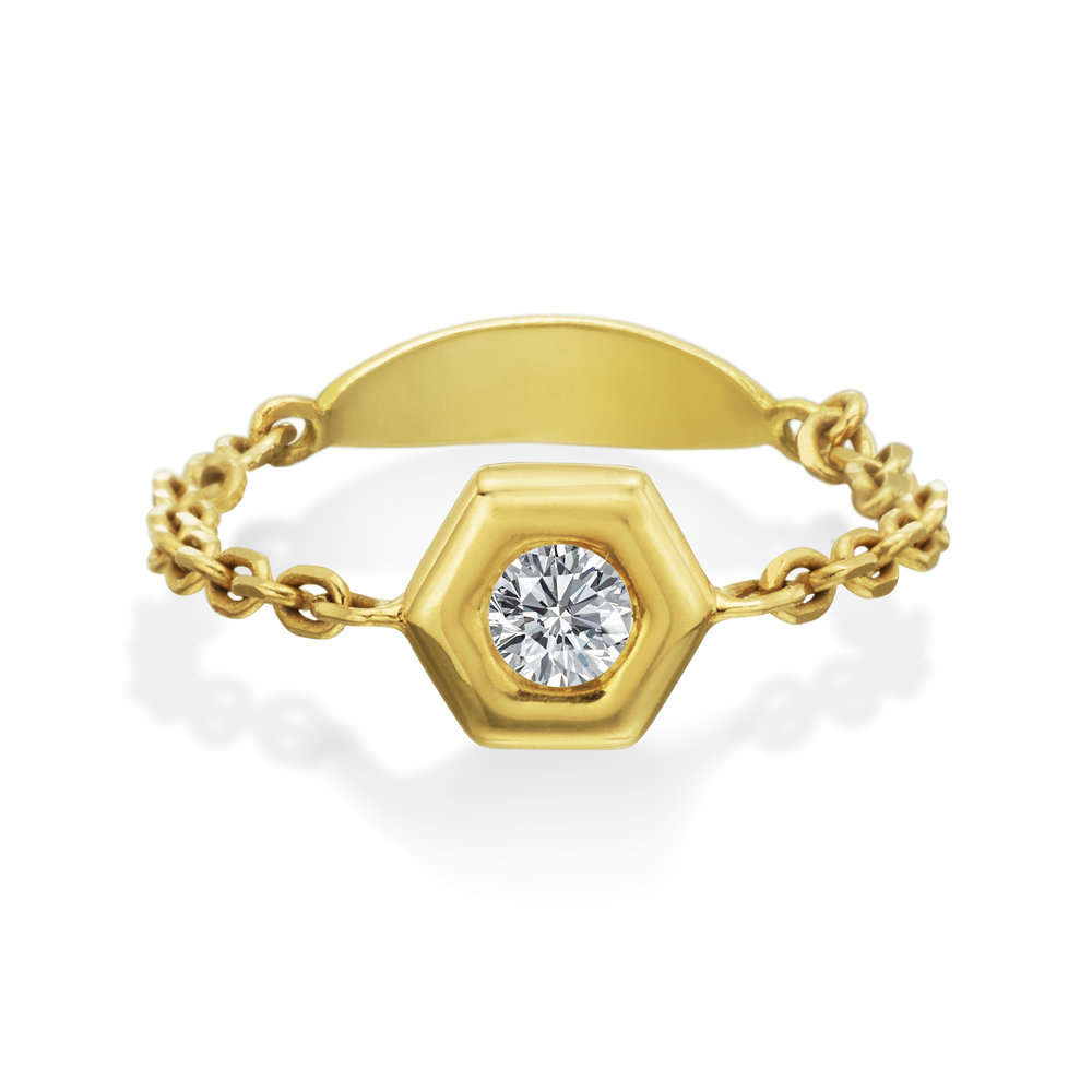 Gold & Diamond Mini B Chain Ring