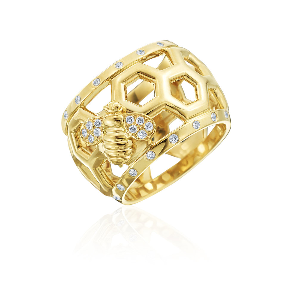 "Gold & Diamond ""B"" Dome Ring"