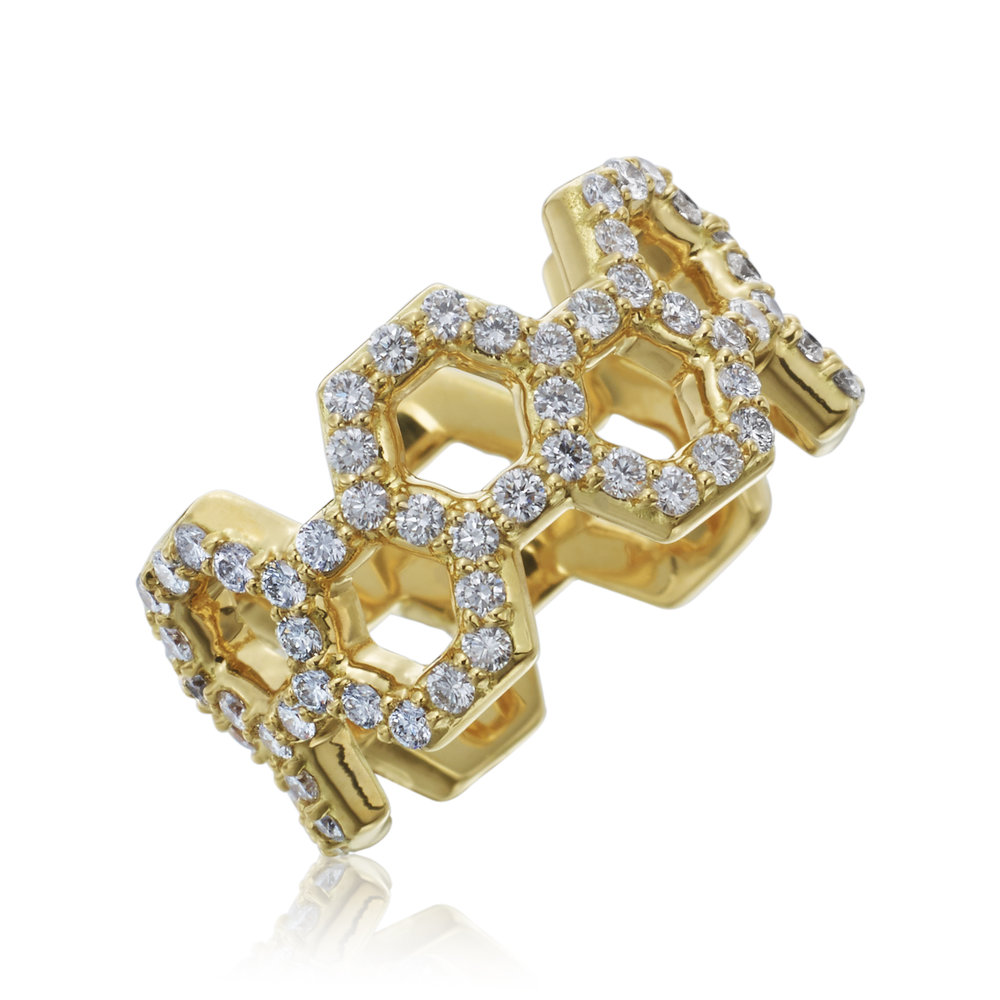 "Gold &  Diamond ""B"" Ring"