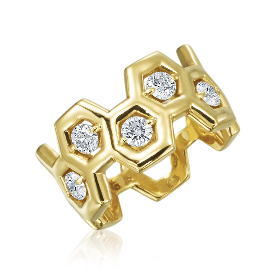 "Gold & 1/2 Way Diamond ""B"" Ring"