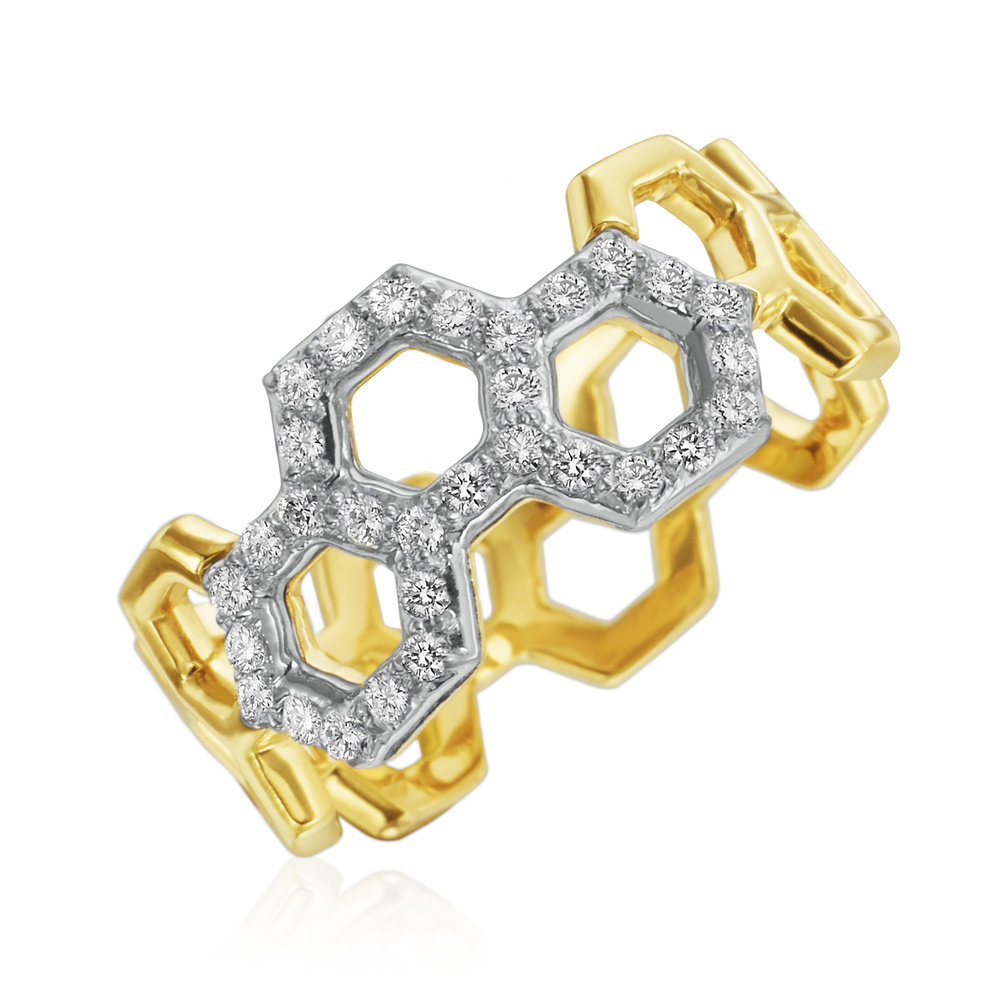 "Gold & Pave Diamond ""B"" Ring"