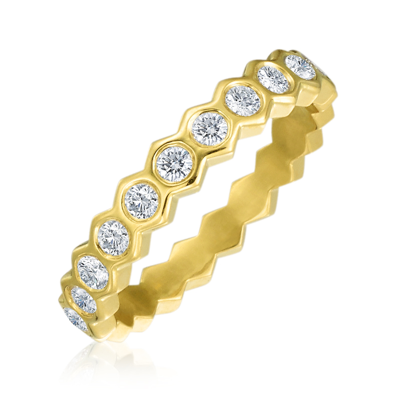 "Gold & Diamond ""B"" Honeycomb Eternity"