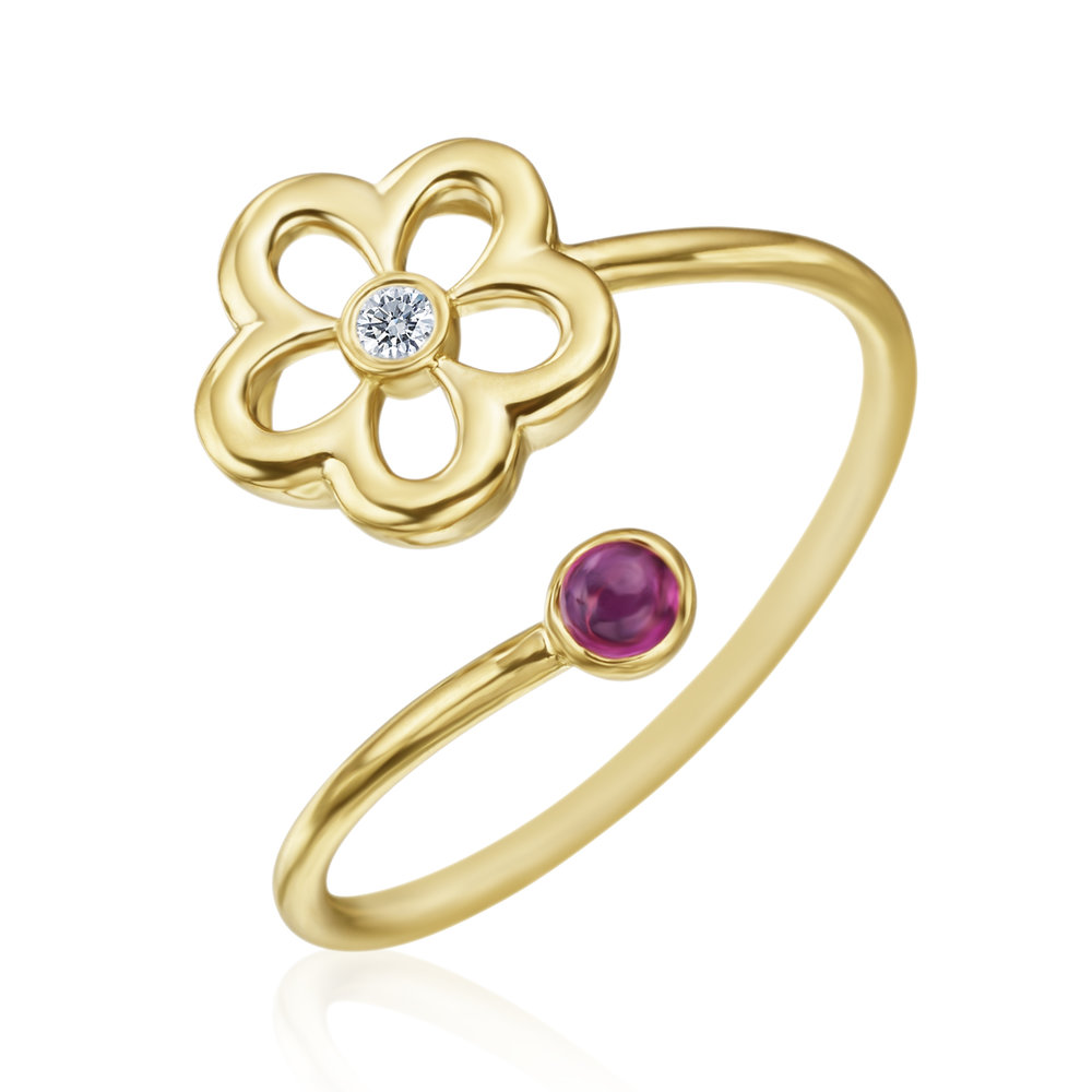 Gold, Diamond & Ruby Mini G Daisy Ring