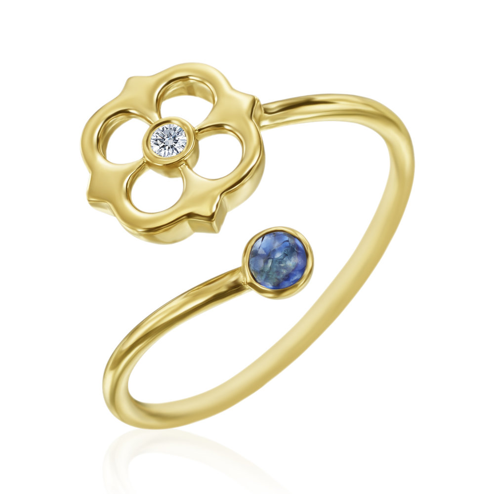 Gold, Diamond & Saph Mini G Sofia Ring