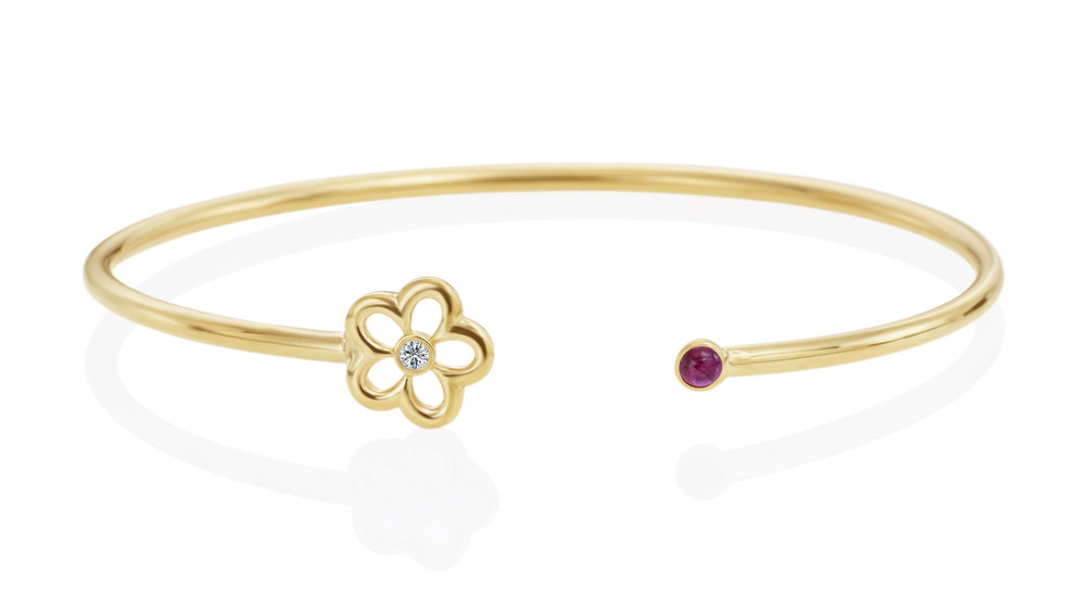 Gold, Diamond & Ruby Mini G Daisy Bracelet