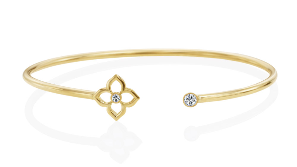 Gold & Diamond Mini G Lotus Bracelet