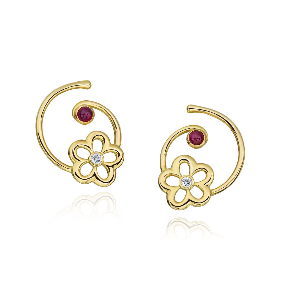Gold, Diamond & Ruby Mini G Daisy Earring