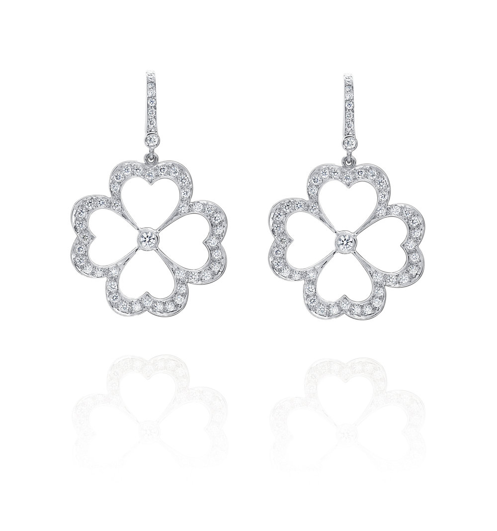 White Gold & Small Pave Diamond Motif Earrings