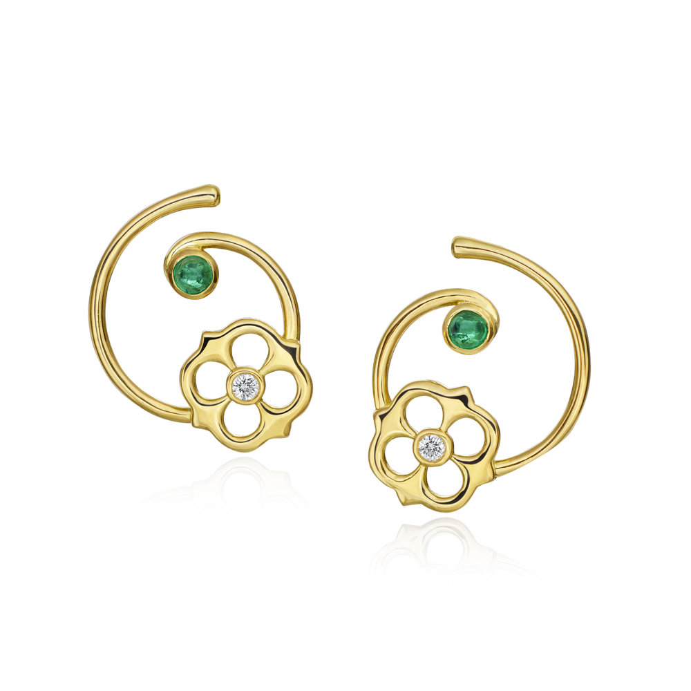 Gold, Diamond & Emerald Mini G Sofia Earring