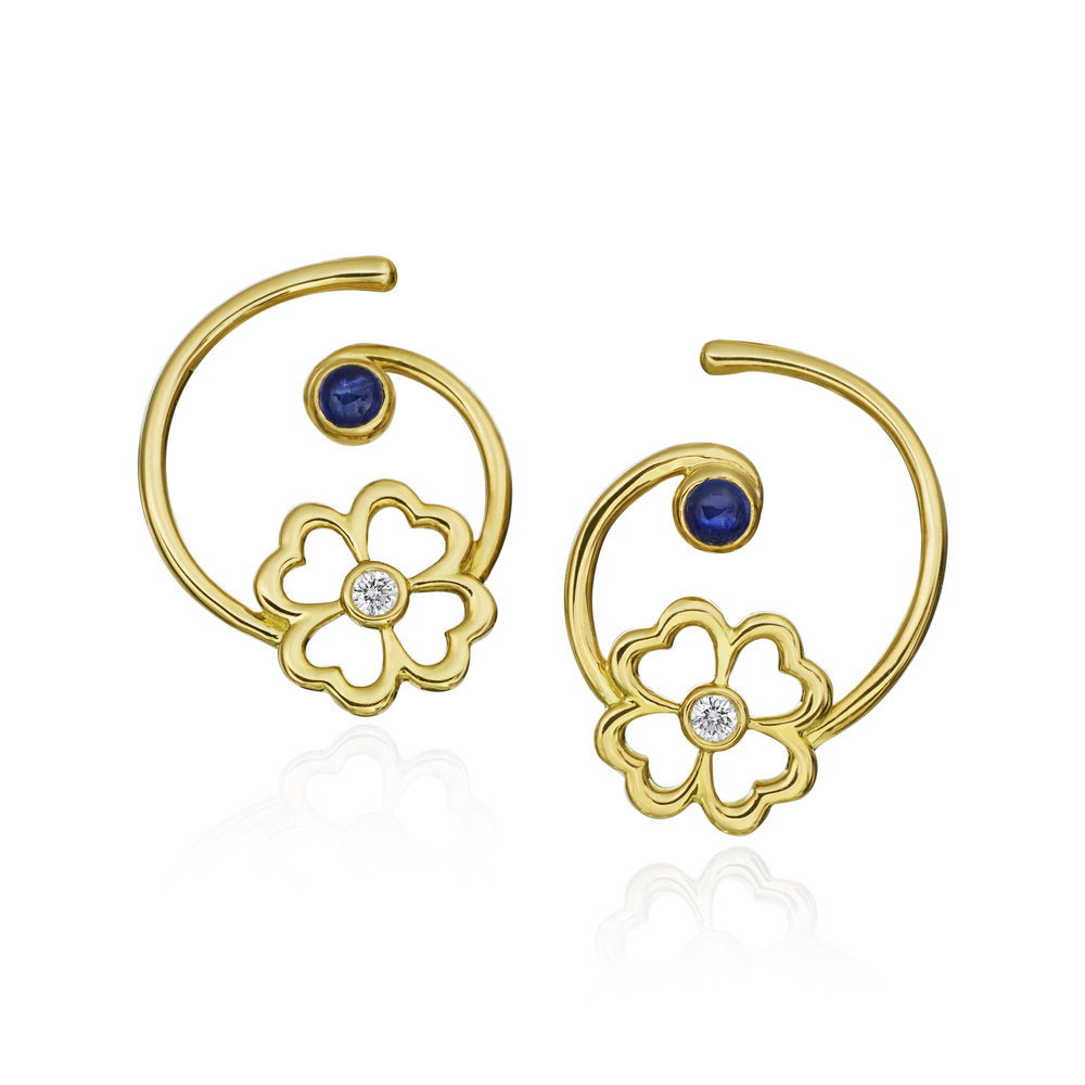 Gold, Diamond & Sapphire Mini G Kelly  Earring