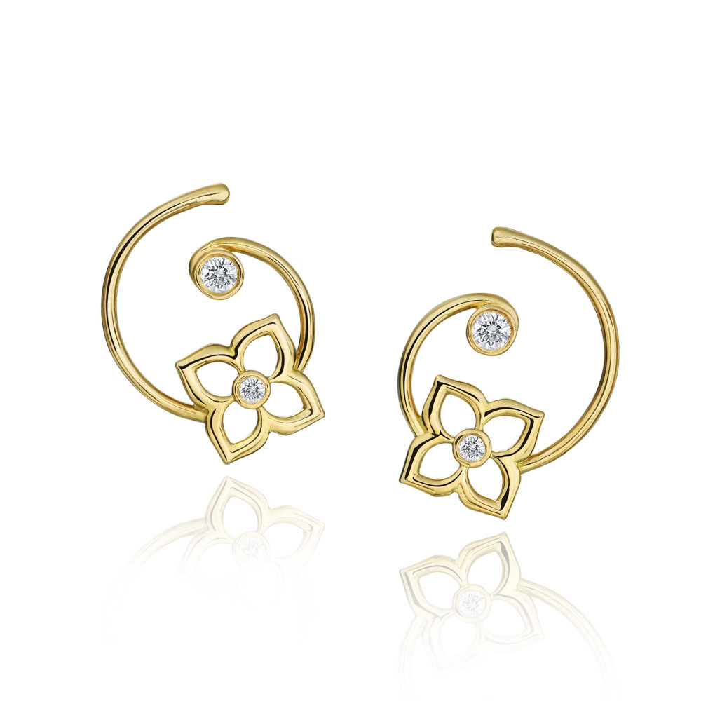 Gold & Diamond Mini G Lotus Earring