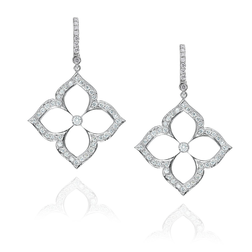 White Gold & Large Pave Motif Earrings