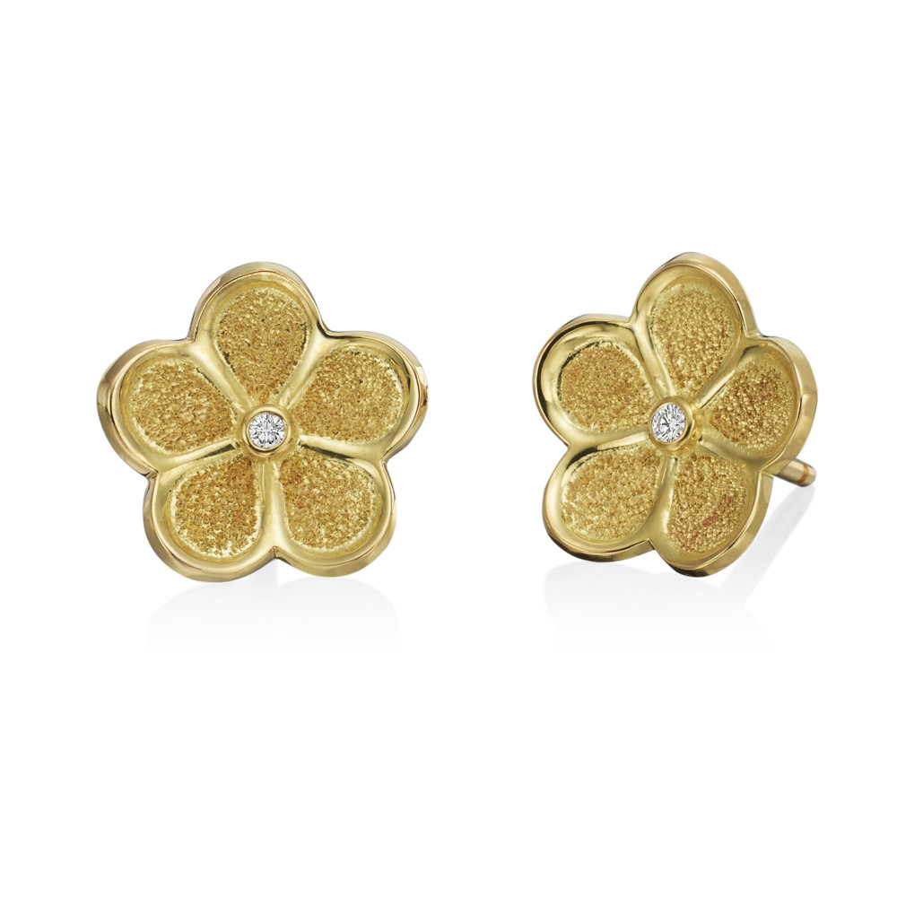 Gold Small Floating Motif Stud Earrings