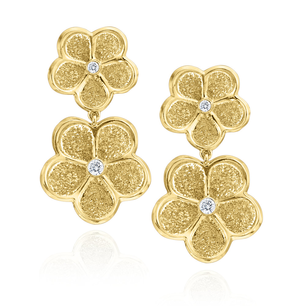 Gold Small & Large Daisy Dangle Earrings