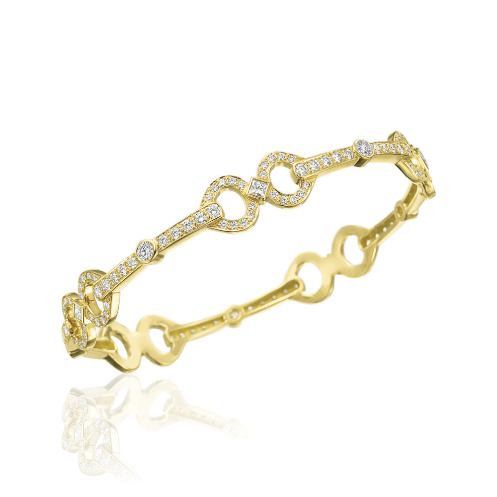 Gold & Pave Diamond Gallop Bangle
