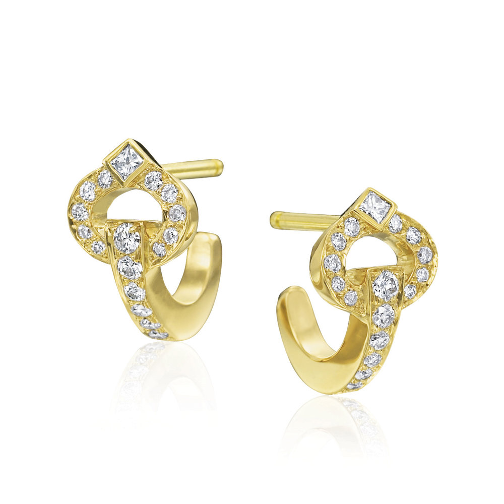Gold & Diamond Small Gallop Earrings