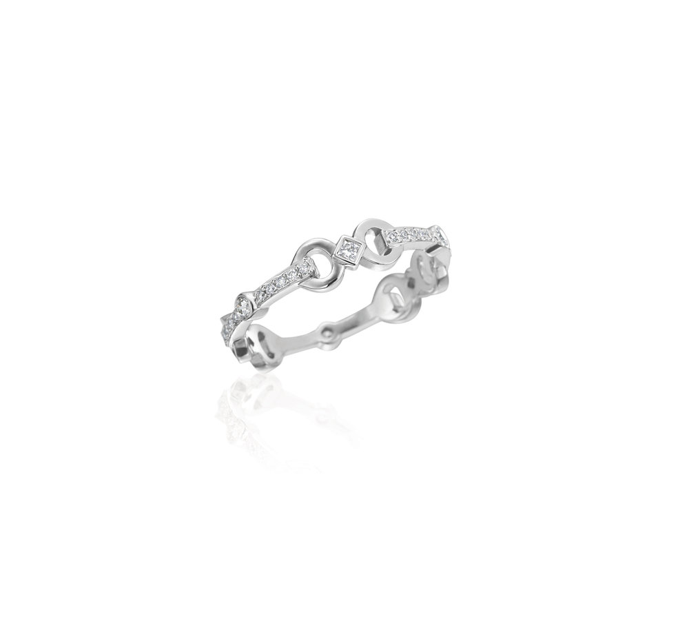 Gold & Diamond Sm Gallop Stackable Ring