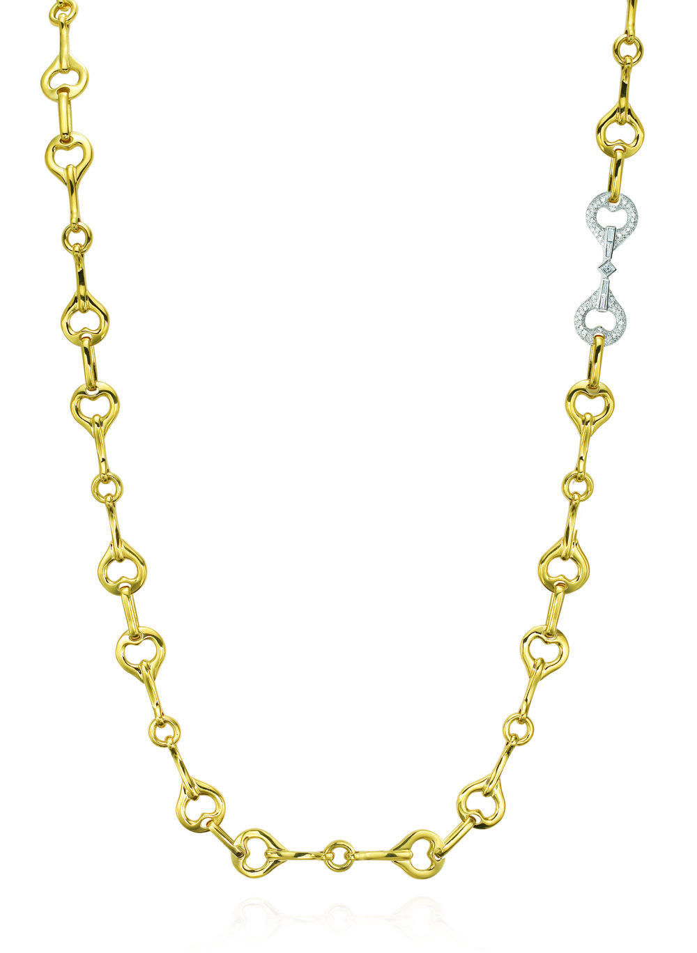 Gold & 1 WH Dia Section Gallop Necklace
