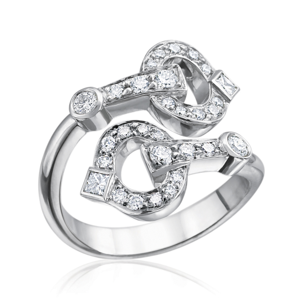 Gold & Diamond Bypass Gallop Ring