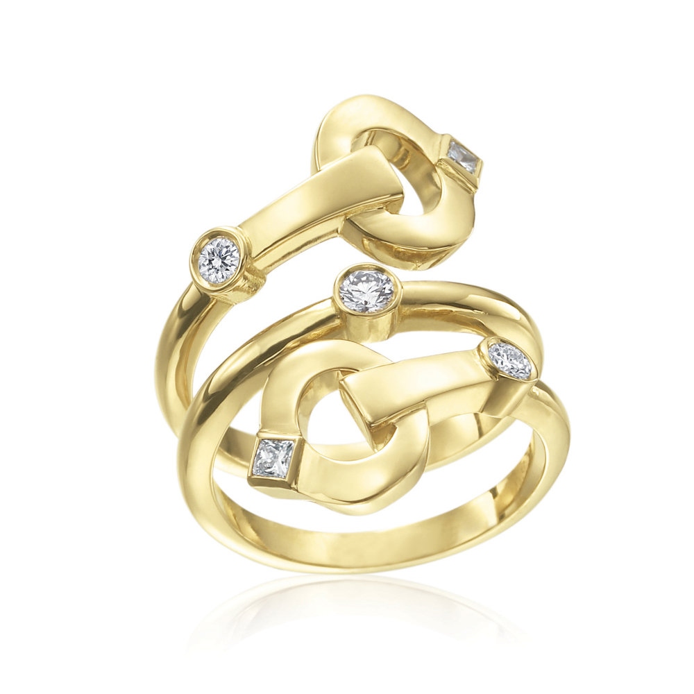 Gold & Diamond Triple Gallop Ring