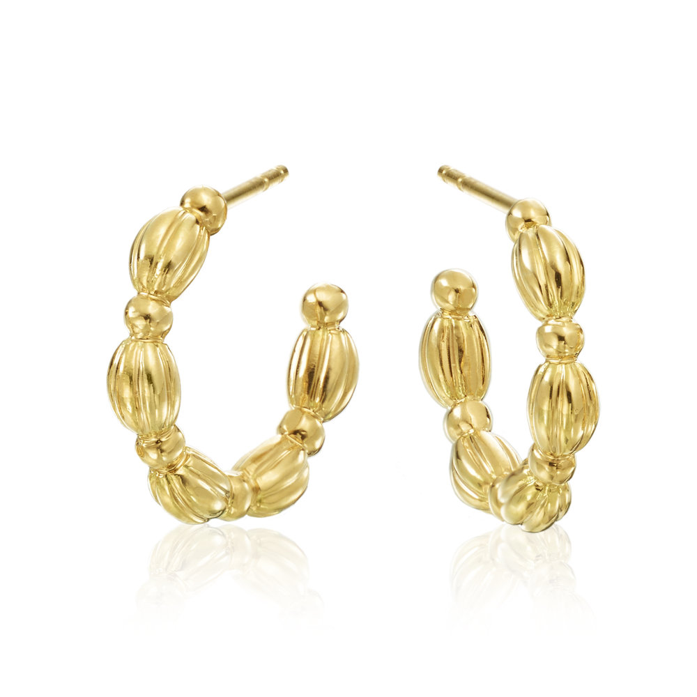 Gold Small Nutmeg Hoop Earrings