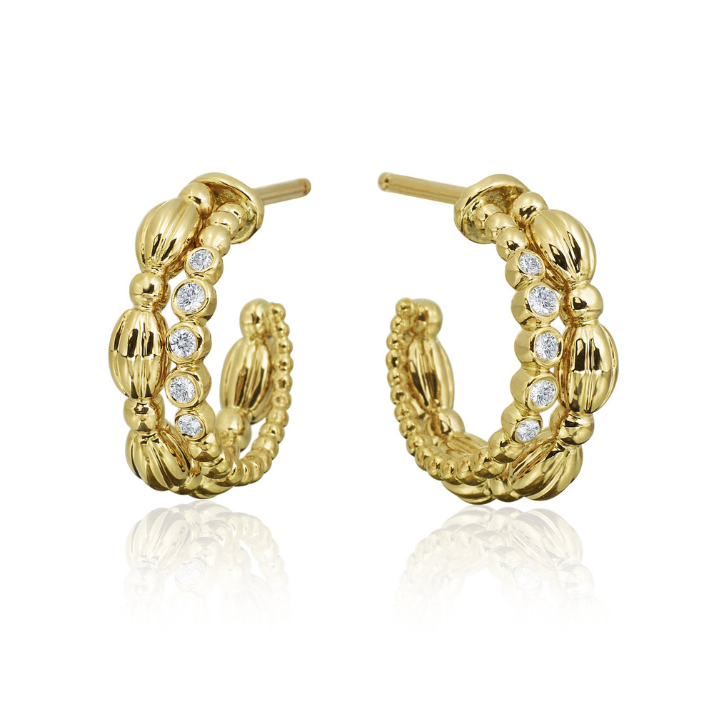 Gold & Small Diamond Nutmeg Double Hoop Earrings