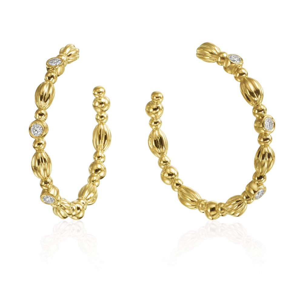 Gold & Diamond Nutmeg Hoop Earrings