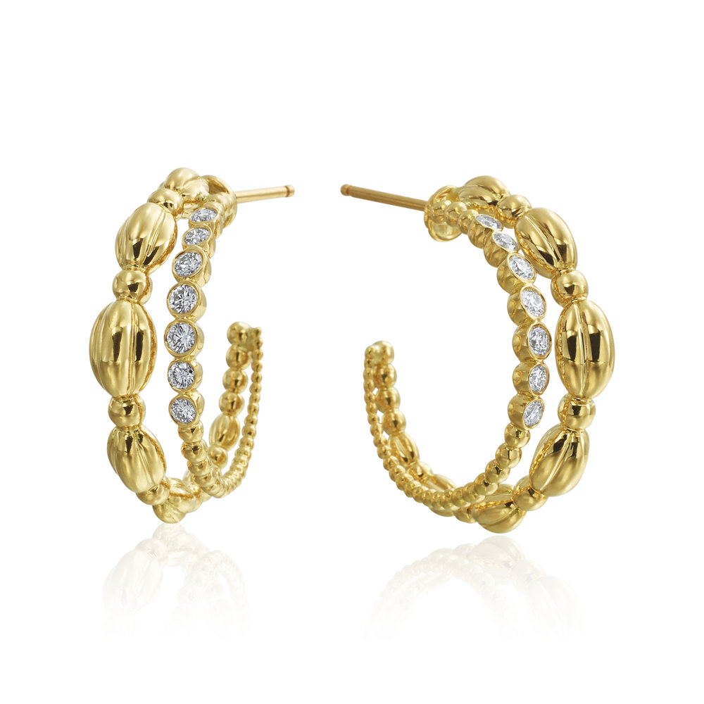 Gold & Diamond Nutmeg Double Hoop Earrings