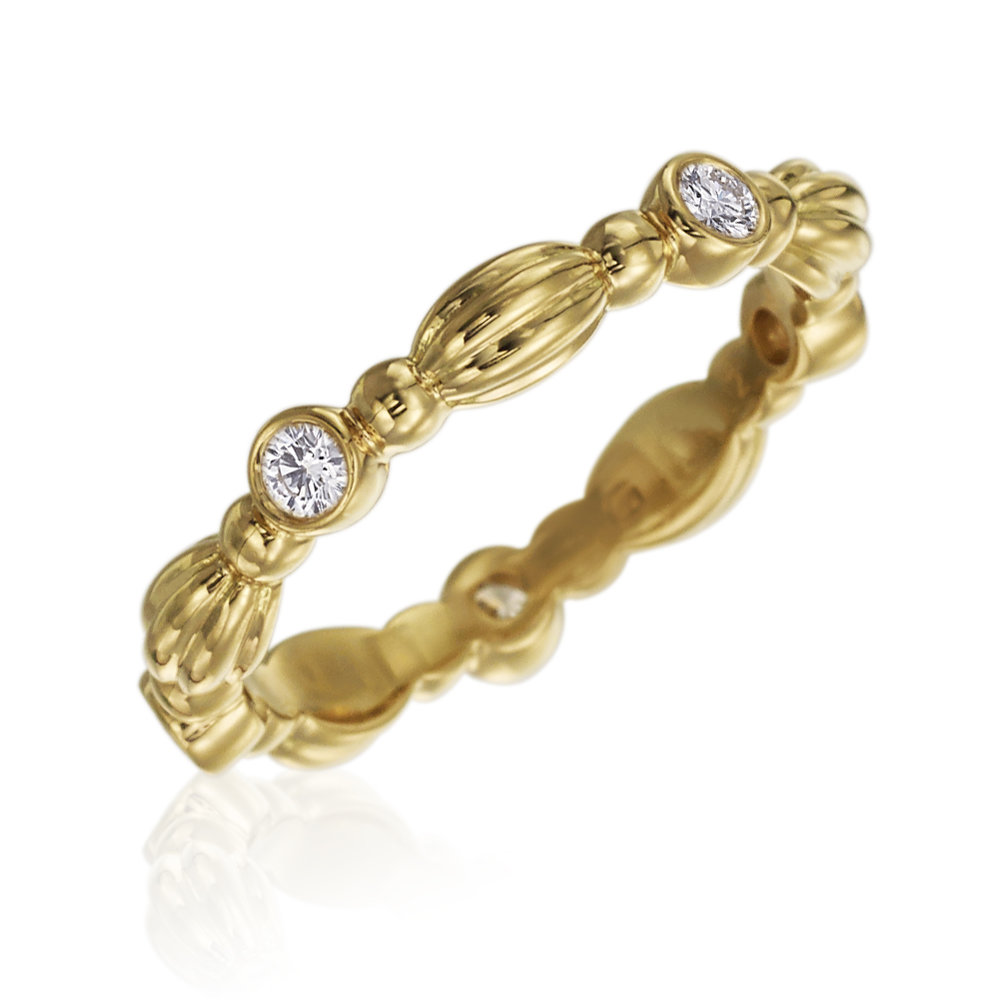 Gold & 5 Diamond Stackable Nutmeg Band