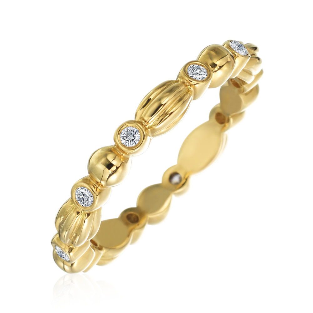 Gold & Diamond Stackable Nutmeg Band