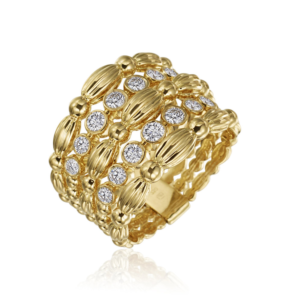Gold & Diamond 5 Row Nutmeg Ring