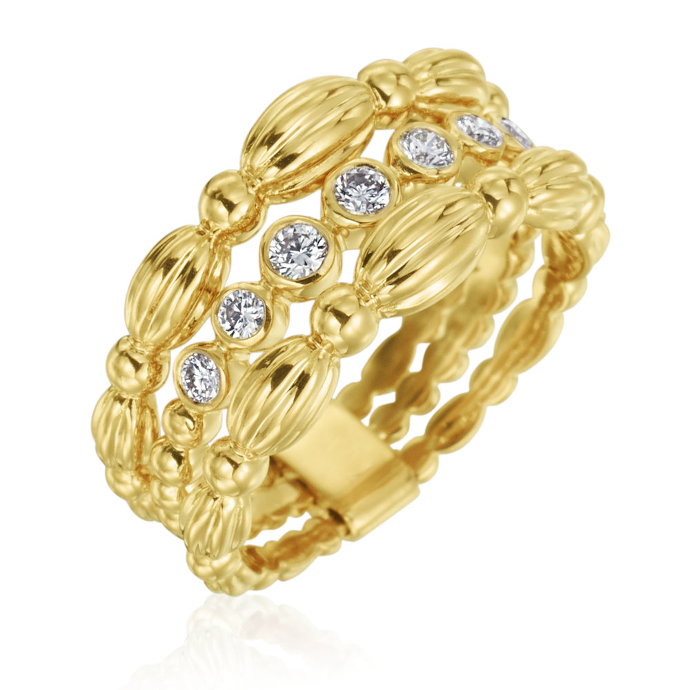 Gold & Diamond 3 Row Nutmeg Ring