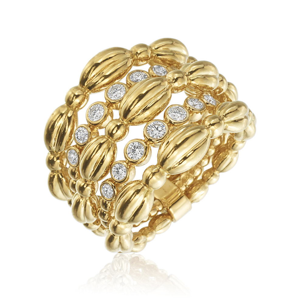 Gold & Diamond Med 5 Row Nutmeg Ring