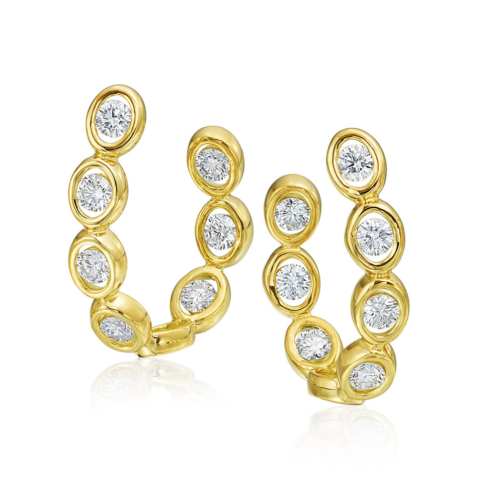 16 Stones, Yellow Gold Earrings